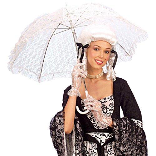 NET TOYS Weisser Spitzen Schirm Barock Spitzenschirm Regenschirm Damenschirm Fasching Karneval...