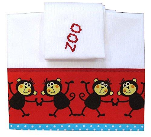 Zigozago - Ensemble set complet 3 pieces parure de petit lit literie pour bébé 90 x 75 cm - SINGES