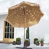 Sombrilla De Paja De Playa para Exteriores, Sombrilla De Jardín Y Terraza con Dispositivo Basculante, con Base De Inyección De Agua, Resistente A La Lluvia, 8 Marcos