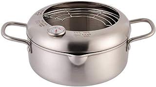 Sartén con termómetro de acero inoxidable olla freidora antiadherente con drenador tempura freidora utensilios de cocina,A