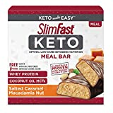 SlimFast Keto Meal Replacement Bar, Salted Caramel Macadamia (5 Count of 1.48 Oz Bars), 7.4 Oz