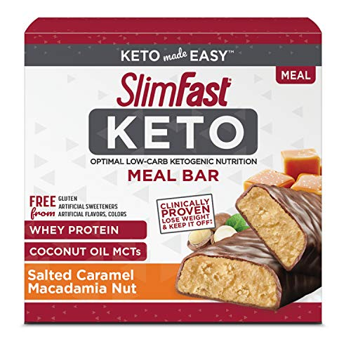 SlimFast Keto Meal Replacement Bar, Salted Caramel Macadamia Nut, 5 Count