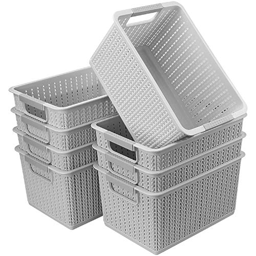 CBTONE Set of 8 Plastic Storage Baskets, Small Woven Organizer Bin with Handles for Bathroom, Health, Cosmetics, Hair Supplies, Beauty Products and Kitchen (Gray, 10.5x7.3x5.5)