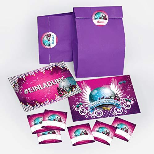 8 Einladungskarten zum Geburtstag Hashtag / Kindergeburtstag / #Einladung / Disco-Kugel / Disco-Party / Einladungen zum Geburtstag für Mädchen incl. 8 Umschläge, 8 Party-Tüten / lila, 8 Aufkleber