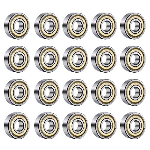 Tingz 20 PCS 608zz Miniatura Radial rodamientos de Bolas(8 x 22 x 7 mm) Rodamientos de Bolas odamientos rígidos de Bolas de Ranura Profunda Adecuado para Patines, patinetas y Scooters