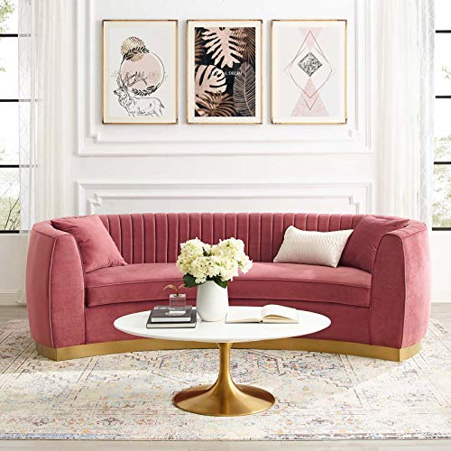 Modway Enthusiastic Channel Tufted Curved Back Performance Velvet, Sofa, Dusty Rose