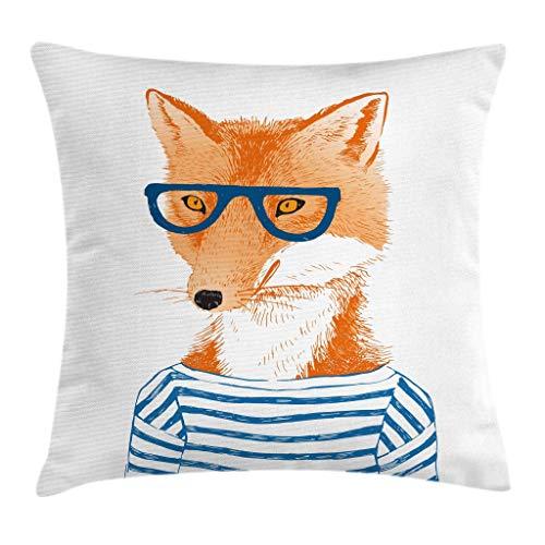 Funda de cojín moderna, diseño de zorro hipster mujer con gafas y camisa a rayas con estampado de animales de humor, funda de almohada decorativa cuadrada, 45,72 x 45,72 cm, color naranja y blanco