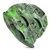 yongwang Gorro de punto para hombre con diseño de setas mágicas para adultos, con diseño verde, para hombre, delicadamente, suave, para hacer punto fino, gorra, pasamontañas, media pasamontañas