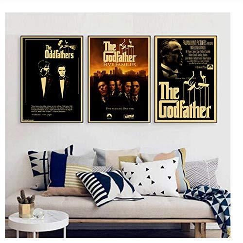 Suuyar Der Pate Gott Vater Vintage Poster Oldtimer Filmplakate Retro Kraftpapier Jason Statham Bildkern Druck auf Leinwand-50x70cmx3 No Frame
