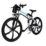 Aceshin 26'' Folding Electric Mountain Bike with Removable Large Capacity Lithium-Ion Battery (36V 250W), Electric Bicycle 21 Speed Gear and Three Working Modes (White/Blue)