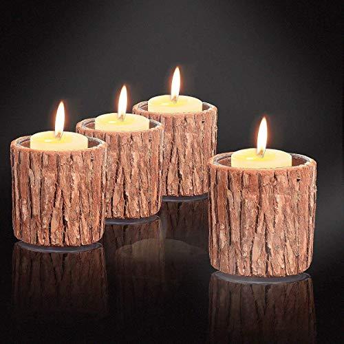 Ecosides Set mit 4 Teelichtern Kerzenhalter mit Holzrinde und Glas Design Stifthalter oder Kaktus Sukkulente Blumentopf Pflanzgefäß für rustikale Home Office Hochzeits Dekoration