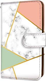 anve Android One X2 国内生産 ミラー スマホケース 手帳型 HTC エイチティーシー アンドロイド ワン エックスツー 【D.ピンク×グリーン】 【丸デコ】 大理石 マーブル パール best_vc-145-deco_sp