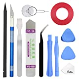 EMiEN Professional Opening Pry Tool Repair Kit with Dual Side Tape Adhesive for Repairing iPhone iPad Macbook Cell Phone Tablet Laptop,Including Spudgers,Anti-Static Tweezers,Precision Knife Set