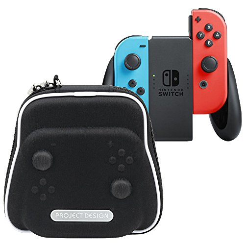 ElementDigital Switch Hand Grip Travel Carrying Case Protective EVA Hard Shell Handle Holder Storage Bag Carry Pouch with Charging Cable Compartment for Nintendo Switch Joy-Con Controller