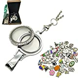 Floating Locket Charm Lanyard Twist Screw Open with Badge ID Holder Keychain Name Stainless Steel 30 Inch Necklace Rolo Chain W/No Repeat 50pcs Floating Charms Lot (Random) + Gift Box (Twist Style)