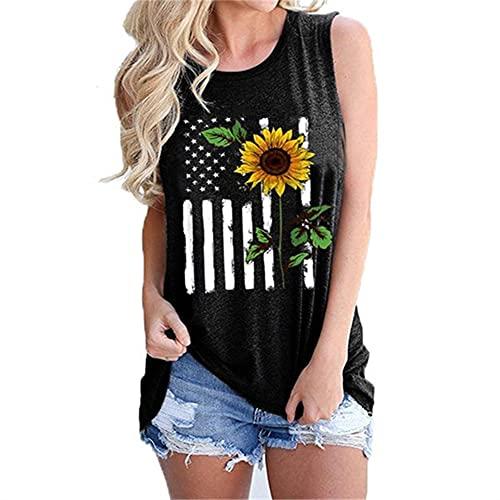 Mayntop Camiseta sin mangas para mujer, con diseño de bandera de Estados Unidos, 4 de julio, camiseta con cuello en O