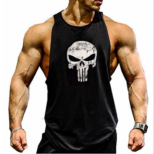 New Fi Men's Skull Bodybuilding Fitness Stringer Tank Top Sport Gym Sleeveless Vest(Black, L)