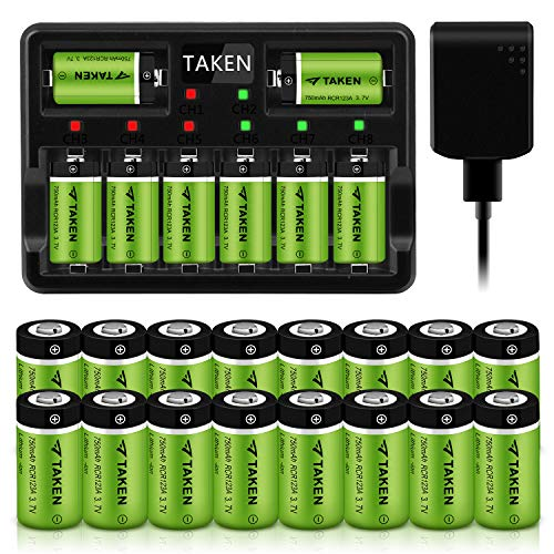 CR123A Rechargeable Batteries, Taken 3.7V 750mA Li-ion Batteries for Arlo Camera (VMC3030/VMK3200/VMS3330/3430/3530), 24 Pack CR123A Lithium Batteries with 8-Ports Charger