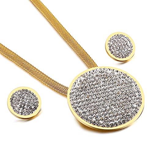 pivbcpw Pendientes De Collar De Acero Inoxidable Diamante Chapado En Oro Tres Colores Círculo Geométrico Opcional