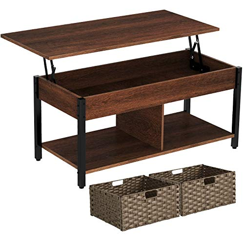 Rolanstar Lift Top Coffee Table with Storage and Rattan Baskets, Rustic Wood Raisable Top Central Table for Living Room, Hidden Compartment Shelf Tabletop and Metal Frame, Espresso