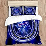 JIUHUASHANLION Duvet Cover Set,NFL Bu-ff-alo Bi-lls Team Logo 3D Printing 9Decorative 3 Piece Bedding Set with 2 Pillow Shams, King Size