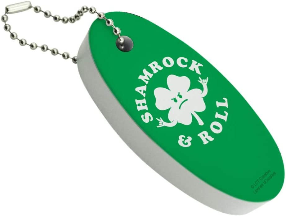 Shamrock and Roll Max 51% OFF Irish Over item handling ☆ Rock Humor Floating Oval Funny Keychain