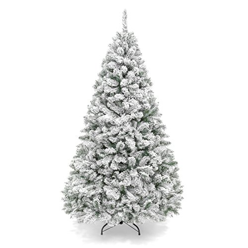 Best Choice Products 6ft Premium Snow Flocked Hinged Artificial Pine Christmas Tree Holiday Decor...