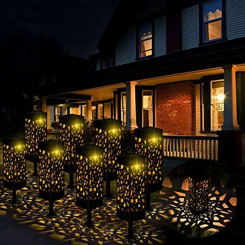 Kefflum Solarleuchte Garten LED Solarlampe Gartenleuchte für draußen 8 Stück Warmweiße LED Solar Laterne Wasserdicht IP55,Decorative Solarlampe Landschaftsbeleuchtungs Fahrstraßen für Rasen