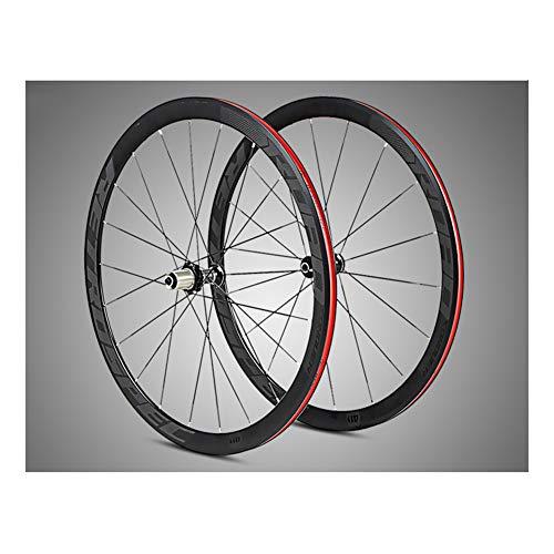 MAIKONG Ultraleichter 700C-Rennrad-Laufradsatz aus Aluminiumlegierung mit 40 mm Felgenabdichtung Aluminiumlegierungs-Nabe Buntes reflektierendes Laufrad-Set Vier Flache Palin-Speichen,Schwarz