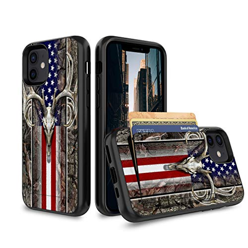 DIAOKAN iPhone 11 Case,Wallet Case Credit Card Holder Flip Case Full Body Best Protective Soft Hybrid TPU Hard Durable Shockproof for iPhone 11 6.1 inch 2019,American Flag Camo Deer Skull