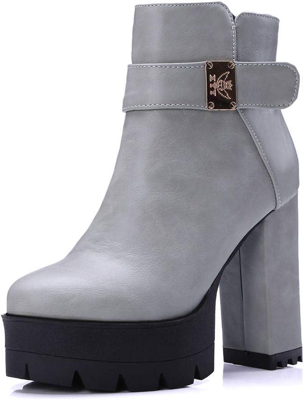 KingRover Women's Martin Boots Round Toe Platform Zip Lug Sole Ankle Boots