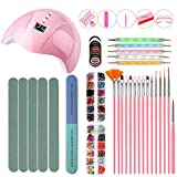 Nail Starter Kit, 36W UV LED Nail Lamp includes Nail Drill Buffer File 15pcs Manicure Brushes 5pcs Nail Dotting Pens and Decoration, for Home and Salon Use
