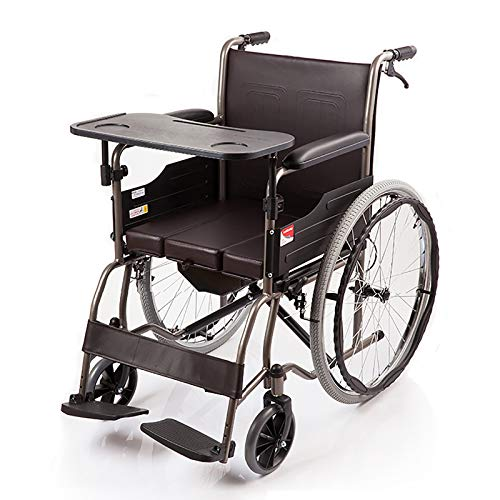 DUYUJIE Silla De Ruedas Plegable con Inodoro, Que Soporta 100 Kg, Se Puede Utilizar para Discapacidades/Hemiplejía/Paraplejia De Miembros Inferiores