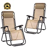 Set of 2 Zero Gravity Chairs Lounge Patio Chairs Outdoor Yard Beach (Tan)...