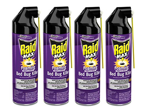 Raid Max Bed Bug Crack and Crevice Extended Protection Foaming Spray, Pack of 4, 17.5 Ounce