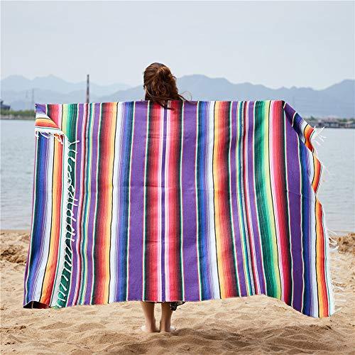 KHDJ 150x200cm Mantas mexicanas de algodón multifuncionales Manta Bohemia para Sofá Cama Playa Picnic Yoga Alfombra Colorido Serape Raya Colcha Mantel Hecho a Mano Hecho en México,Púrpura,150 * 200cm