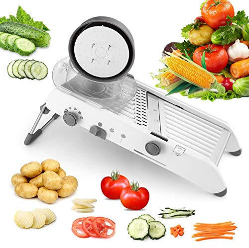 Karidge Mandoline Slicer – Adjustable Thickness Vegetable Slicer Fruit Slicer French Fry Cutter Food Waffle – Sharp Stainless Steel Blades