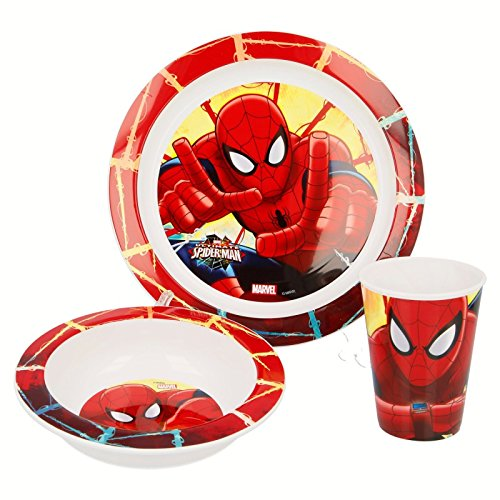 Stor Set Micro Kids 3pezzi (piatto, ciotola e bicchiere 260ml.) Spiderman Red Webs