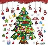 Árbol De Navidad De Fieltro,3.28Ft Árbol De Navidad En Fieltro para Niños,Árboles De Navidad Decoración del Hogar con 32 Ornamentos Desmontables,Decoración De Navidad para Paredes Y Puertas del Hogar