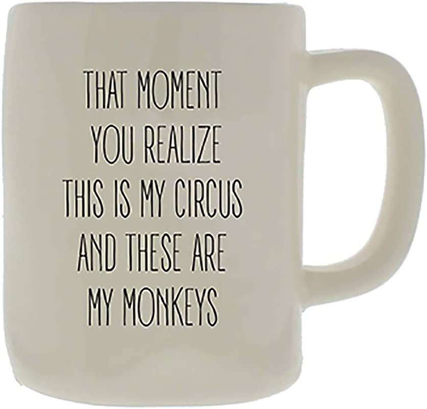 Mary Square 26653 Ceramic Organic Circus Monkeys Mug 16 Oz White