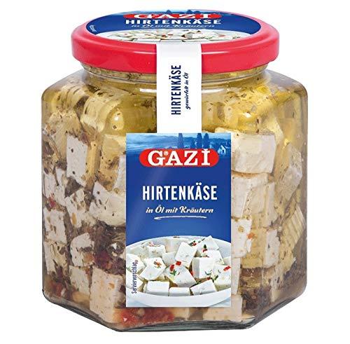 Gazi Hirtenkäse in Öl mit Kräutern - 8x 375g Glas - Kuhkäse Käse Cow Cheese Käse in Rapsöl Kräuter 45% Fett i. Tr. aus 100% Kuhmilch mild mikrobielles Lab vegetarisch glutenfrei Halal