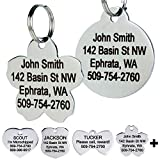 image of custom engraved Stainless Steel Pet Id Tags in several shapes