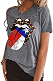 EIGIAGWNG Womens American Flag Lips T-Shirt Funny July 4th Independence Day Graphic Tees Tops (B-Grey, S)