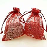 YK.Hapyshop Lot de 100pcs Pochette à Bijoux Sac de Cadeau en Organza pour Mariage 7x9cm, #1, 9*12cm