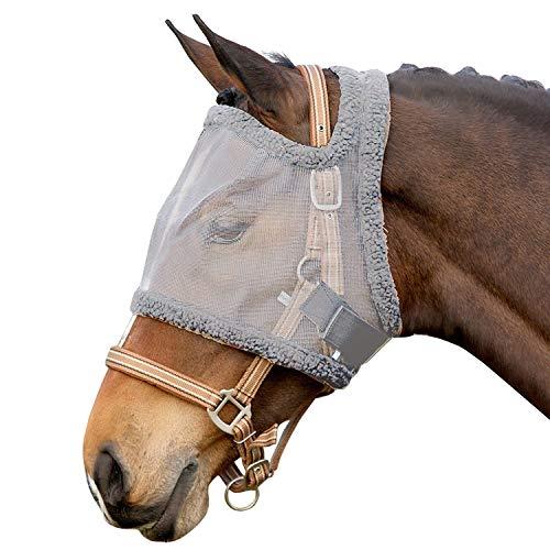 QHP Fliegenschutzmaske ohne Ohren Fliegenschutz Kopf grau Diverse Größen (Vollblut)