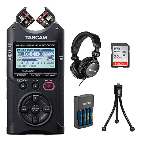 Tascam DR-40X Four-Track Digital Audio Recorder with Tascam TH-02 Studio Headphones (Black), 32GB Memory Card, Charger with 4 AA Batteries & Tripod Bundle