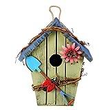 WGGTX Jaulas para pájaros MDF Bird House Bodas Birdcage Pintura Colorida Jardín al Aire Libre Colgando Pájaros Casa de Cottage Alimentador