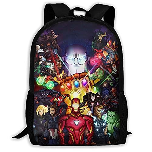 Mochila de hombre de hierro de superhéroe de la guerra del infinito de los Vengadores, unisex, de poliéster, casual, para viajes, escuela, juego
