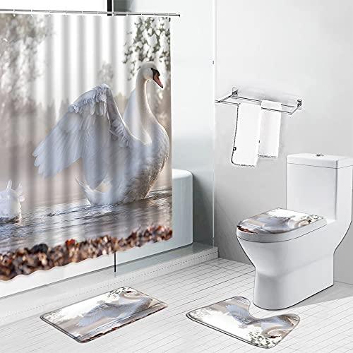 AETTP 4 Stücke Weißer Schwan Duschvorhänge Vogel Schönes Tier Kind Badezimmer Vorhang Set Flanell rutschfeste Teppich Wc Abdeckung Matte Küche Teppich 180x180cm