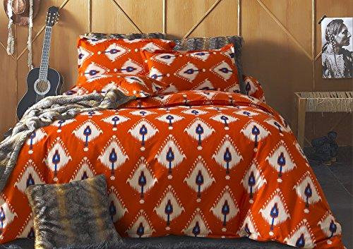 DecoKing Double 200x200 + 2 * 80x80 cm Pillow Case 3pcs Duvet Cover SetZip Microfibre Large Pillowcase Reversible Elegant Orange White Blue Basic Collection Indie